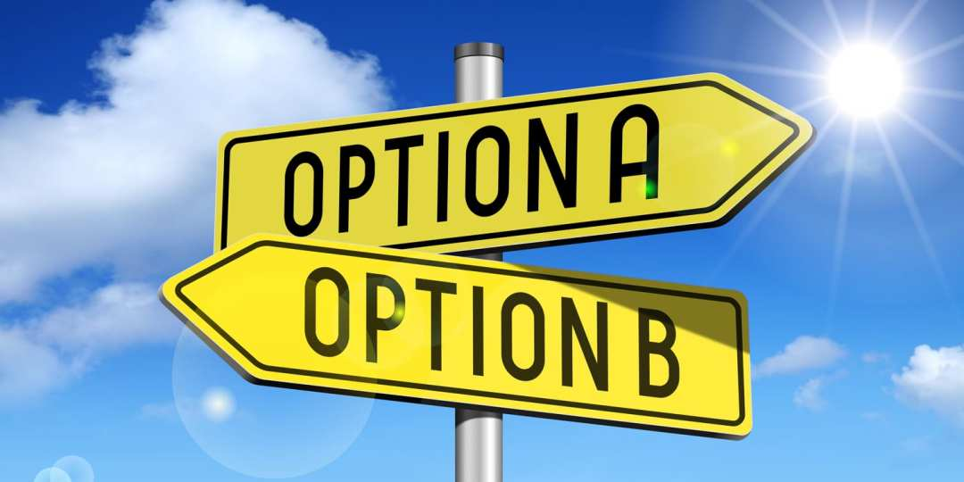 signs pointing to Option A or Option B