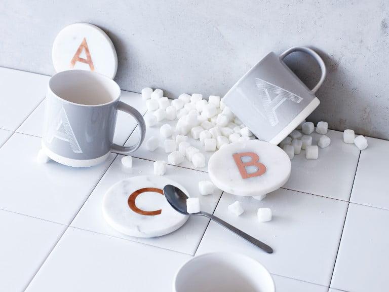 Marble Alphabet Coasters Oliver Bonas