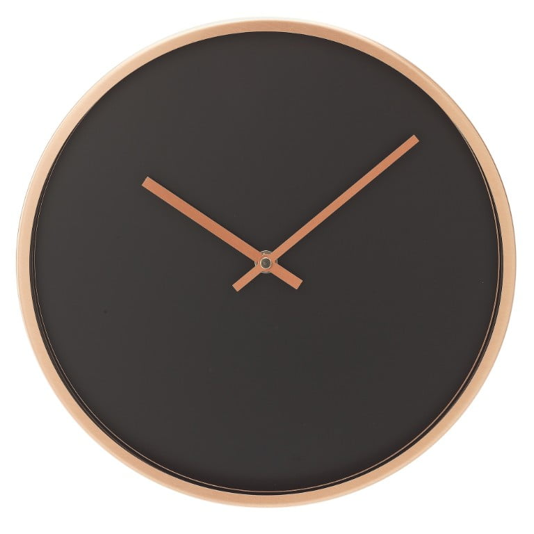 Argos The Collection Metal Wall Clock - Copper and Black