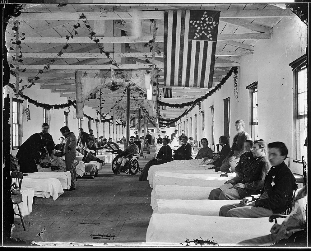 Injured Men at Carver Hospital in Washington DC - Image from the Library of Congress