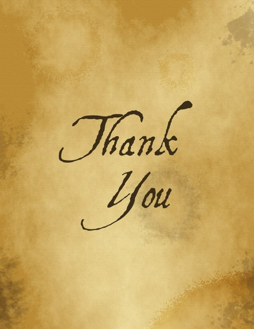 Thank You in Script on Yellow Paper