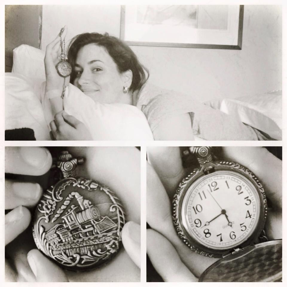 Images: Julia half awake in the hotel showing off her watch, close up of watch exterior showing a steam locomotive, close up of watch face. Yes it really works!