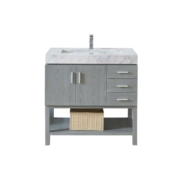 36 inch single vanity with modern cabinets and drawers in riverside county
