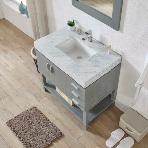 riverside county 36 inch vanity with white marble top and gray drawers