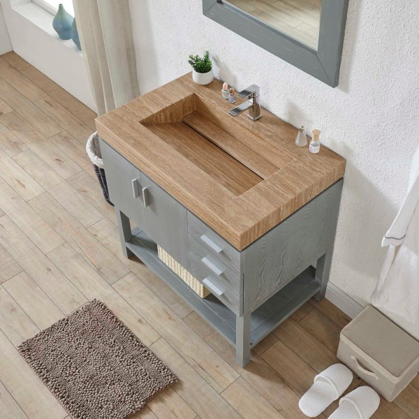 brown wood sink with grey shelving bathroom cabinet riverside county