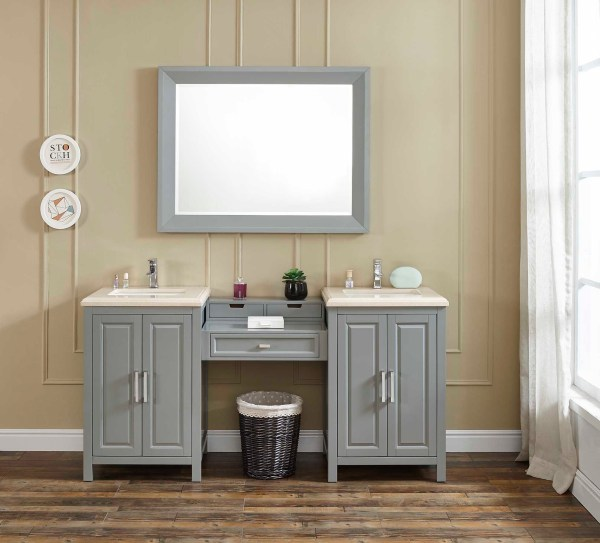 canyon lake double grey vanity with mirror with sink