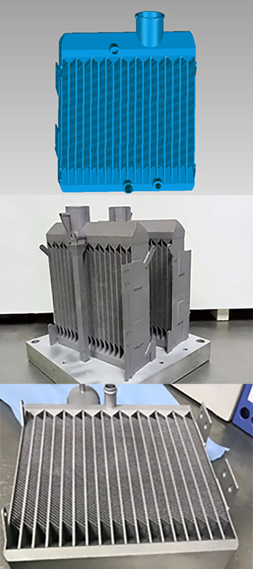 Conception, finished print and post processing pictures of the new radiator