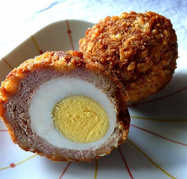 A scotch egg (plus another half scotch egg): Combining egg and pork sausage doubles your chance of salmonella
