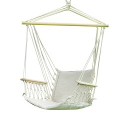 Tree Hanging Hammock Chair Leather Wingback Dining Adeco 20 Wide Seat Cotton Canvas White