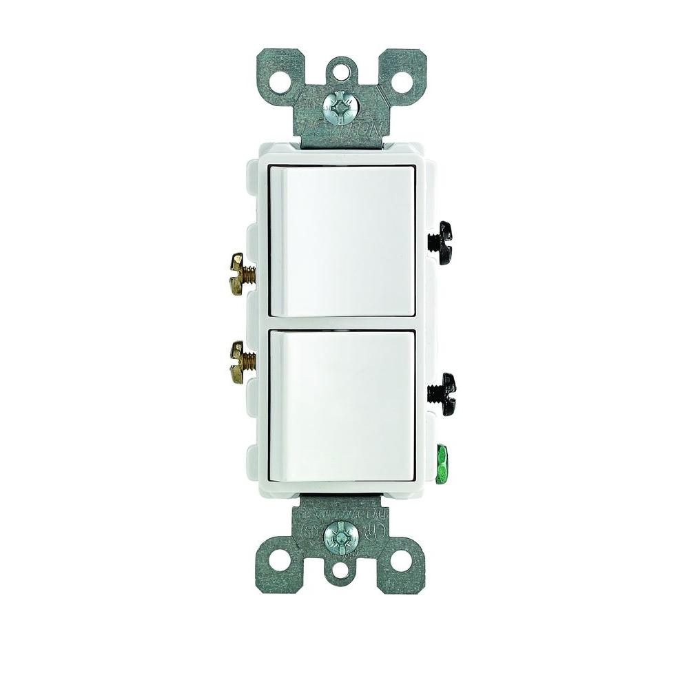 leviton decora 15 amp single pole dual switch white r62 [ 1000 x 1000 Pixel ]