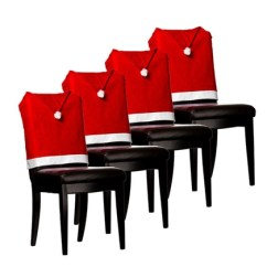 Christmas Chair Covers White Cover Hire Newcastle Upon Tyne Imperial Home 4 Pc 17 X17 Santa Hat Red