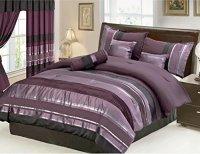 Grand Linen Oversize Eggplant Comforter Set - Purple/Black ...