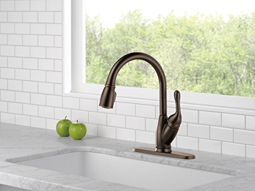 delta izak kitchen faucet calphalon essentials single handle pull down sprayer bronze