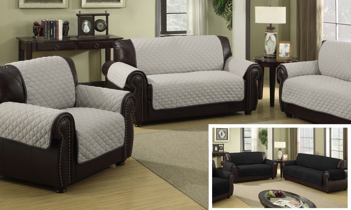 quilted microsuede sofa cover dark maroon leather waterproof microfiber reversible slipcover silver save 10 on your first order