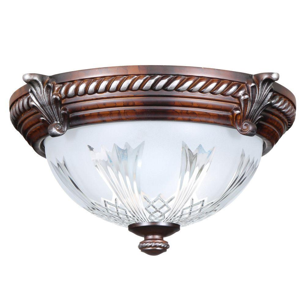 Hampton Bay Bercello Estates 2-light Flushmount Light - Volterra Bronze Check Blinq
