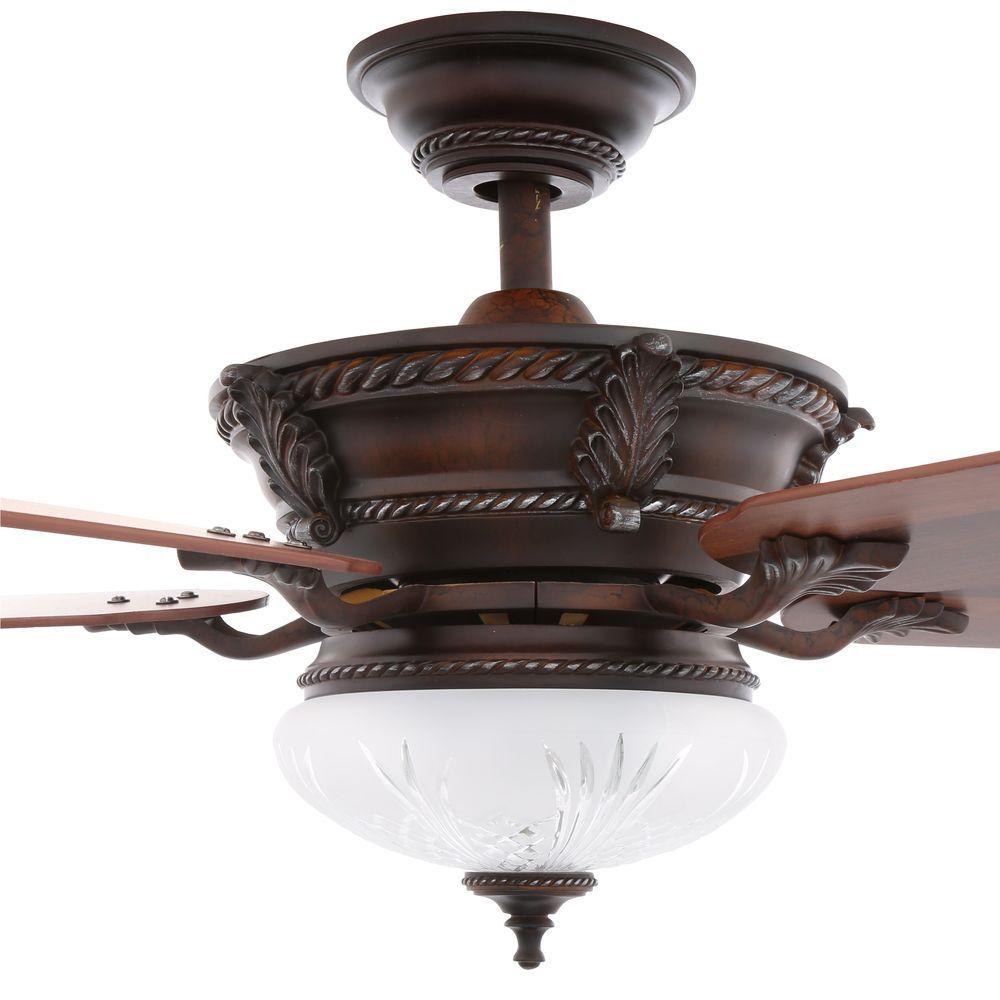 Hampton Bay Bercello Estates 52 In. Volterra Bronze Ceiling Fan 34914 - Check Blinq