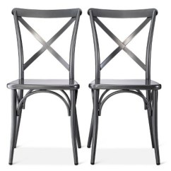 Industrial Bistro Chairs Purple Bungee Chair French Metal Matte Charcoal Set Of 2 The Shop