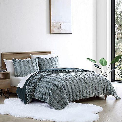 ugg 3 piece landers faux fur comforter set ocean size king check back soon