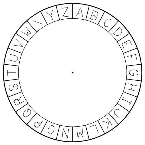 Figure 1-5. The outer circle of the cipher wheel cutout.