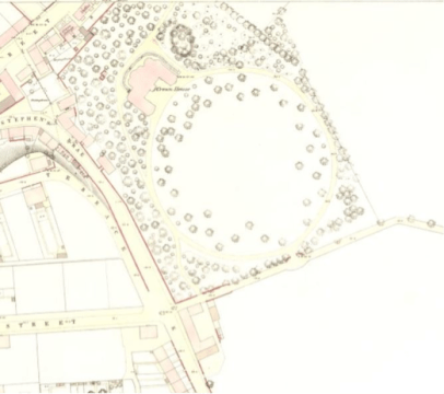 1866 Ordnance Survey map showing Crown House, front lawn and drive