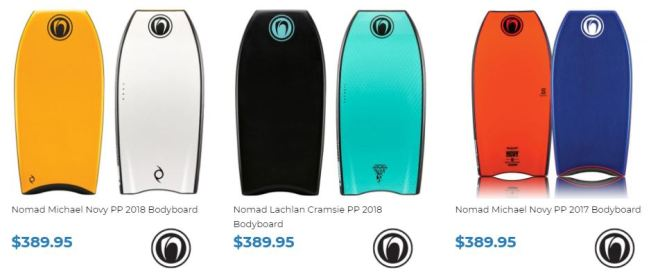 Nomad Bodyboard range for sale at INverted Bodyboard SHop