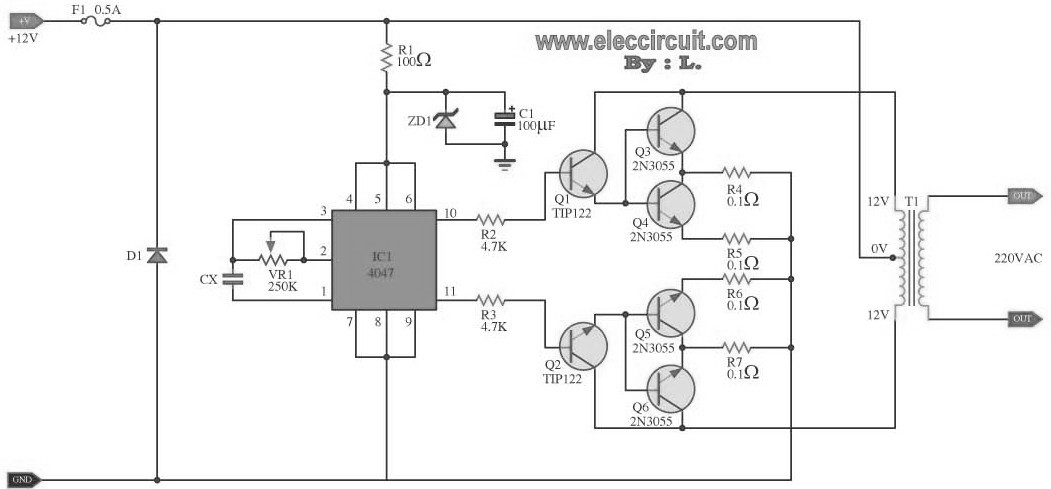 100W DC Power Inverter Circuit  Inverter Circuit and Products