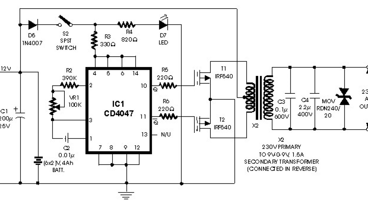 Simple Inverter 100W with FET IRF540 - Inverter Circuit and ... on