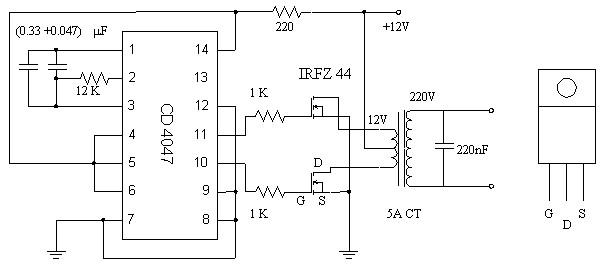Simple 12-220 AC to DC Inverter Circuit MOSFET IRFZ44 - Inverter