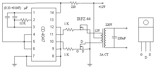 12V to 220V Inverter based MOSFET IRFZ44