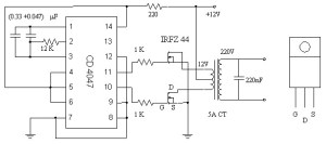 Simple 12-220 AC to DC Inverter Circuit MOSFET IRFZ44