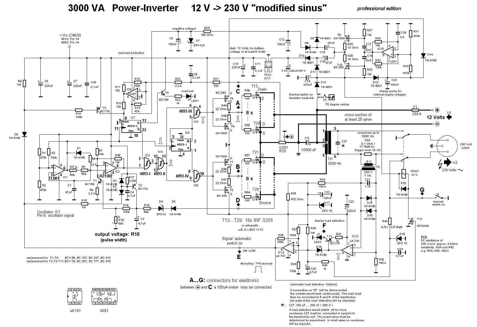 220v to 12v transformer wiring diagram heil ac 3000w power inverter 230v circuit and
