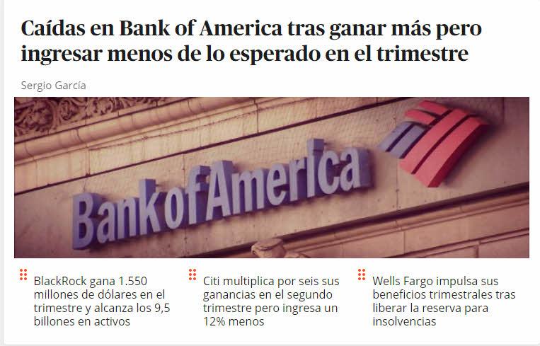 RESULTADOS-2T-BANCA-USA% - Banca americana sigue la estela de buenos resultados de ayer pero no sube