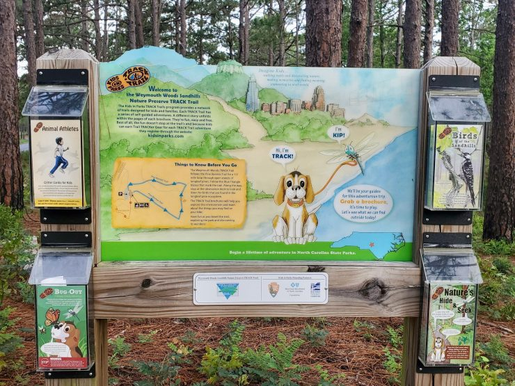 A TRACK Trail display in a wooded area