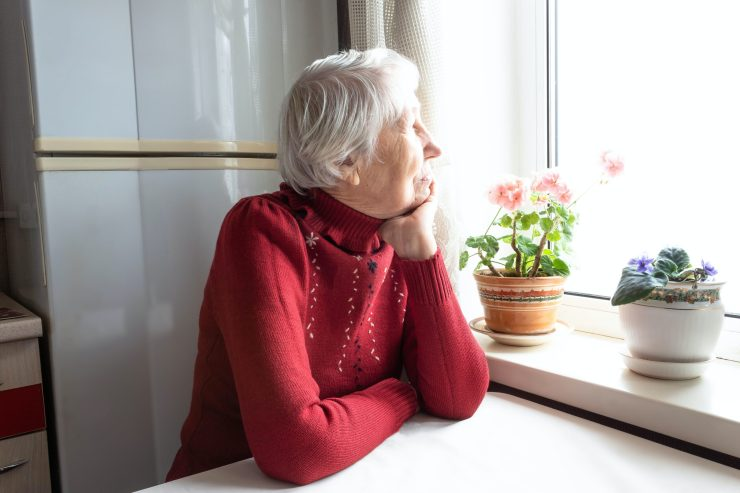 An old woman looking out of her kitchen window