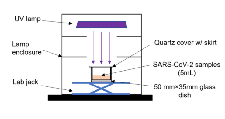A diagram showing a lamp above a sample of water containing the coronavirus.