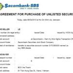 サコムバンク証券(SBS)株のIPOで売買契約書が届く