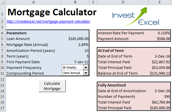 calculate a mortgage payment in excel