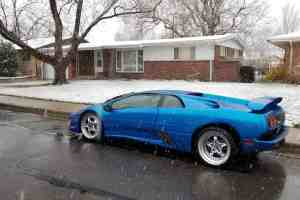 lamborghini diablo in the snow