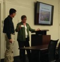 Anne Fenkner of Davey Resource Group and Eric Aller of the City of Clovis work as a tag-team to describe Clovis' forestry program