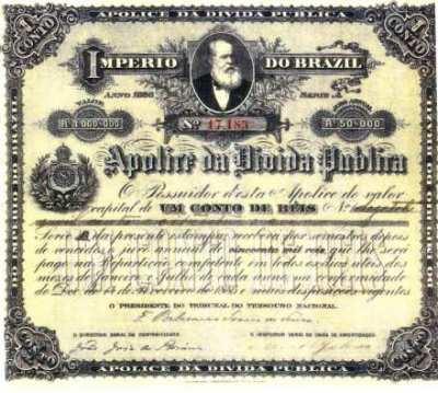 Título de dívida pública do Brasil, de 1886.