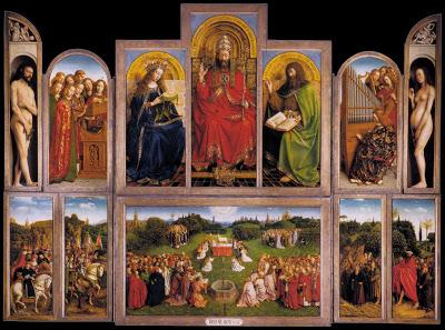 Jan Van Eyck: Políptico de gante (ejemplo de óleo sobre tabla)