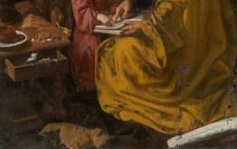 """Detalle de la parte inferior de """"La educación de la Virgen"""""""