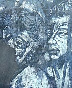 Cimabue: Visión en negativo del detalle anterior. Basílica de San Francisco de Asís