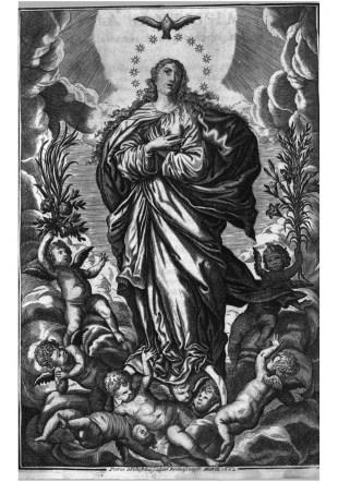 Inmaculada Concepción, 1662. Incluida en Definiciones de la Orden de Caballería de Alcántara. Pedro de Villafranca y Malagón (grabado).