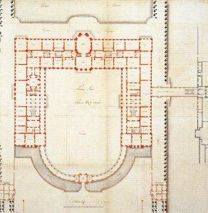 Robert de Cotte: Primer proyecto para el Palacio del Buen Retiro, 1714-1715. Biblioteca Nacional de Francia, París.