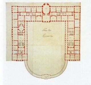 Robert de Cotte: Primer proyecto para el Palacio del Buen Retiro. Planta principal, 1714-1715. Biblioteca Nacional de Francia, París.