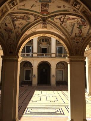 Vista desde el Zaguán al patio central del Palacio del Viso del Marqués.