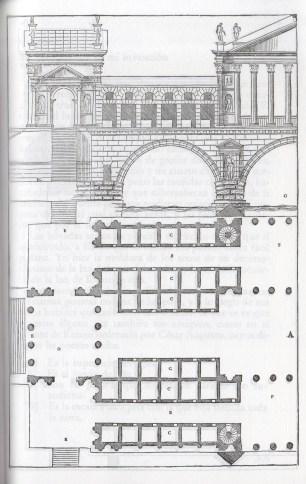 Diseño de puente de piedra (alzado y planta). Andrea Palladio, incluido en sus Cuatro Libros de Arquitectura. 1570