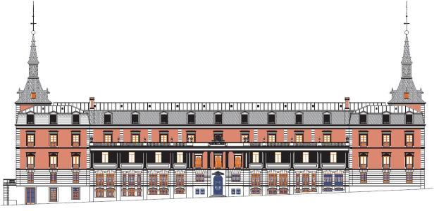 Alzado de la fachada posterior del Salón de Reinos. En la primera planta, los vanos centrales tienen forma de arcos de herradura, se corresponden con la sala árabe. Foto: Museo del Prado.