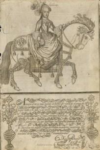 """Diego Bueno: """"Mariana de Neoburgo a caballo"""" en el Arte de leer con elegancia… En Çaragoça, por Gaspar Tomas Martínez, 1700."""